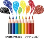 set of colored pencils  ... | Shutterstock .eps vector #79449607