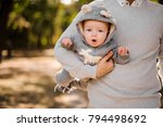 father walking in the park and...   Shutterstock . vector #794498692
