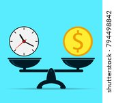 clock and dollar on scales ... | Shutterstock .eps vector #794498842