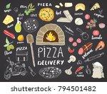 pizza menu hand drawn sketch... | Shutterstock .eps vector #794501482