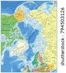arctic ocean political map....   Shutterstock .eps vector #794503126