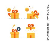 surprising gift set  prize give ... | Shutterstock .eps vector #794504782