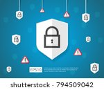shield and alert line icon ... | Shutterstock .eps vector #794509042