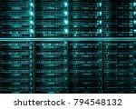 row of harddisk slot on the... | Shutterstock . vector #794548132