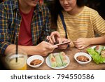 couple eating traditional... | Shutterstock . vector #794550586