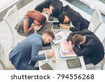 lazy tired team working until... | Shutterstock . vector #794556268