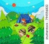 children camping in park on... | Shutterstock .eps vector #794556832