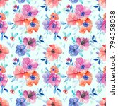 teal blue watercolor floral... | Shutterstock . vector #794558038