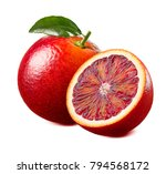 red blood orange with leaf... | Shutterstock . vector #794568172