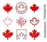 a set of nine unique maple leaf ... | Shutterstock .eps vector #794568742