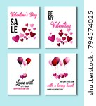valentines day greeting cards ... | Shutterstock .eps vector #794574025