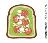avocado toast with tomato and...   Shutterstock .eps vector #794574676
