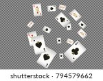 playing cards falling on... | Shutterstock .eps vector #794579662