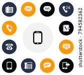 set of 13 editable phone icons. ...
