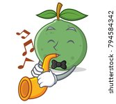 with trumpet guava mascot...   Shutterstock .eps vector #794584342