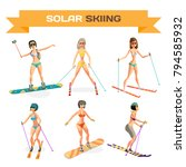 set of women skiing in a bikini ...   Shutterstock .eps vector #794585932