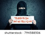 muslim girl in black hijab... | Shutterstock . vector #794588506