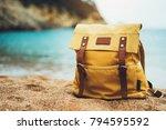 hipster hiker tourist yellow... | Shutterstock . vector #794595592