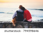 couple hugging on background... | Shutterstock . vector #794598646