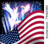 usa flag background. fireworks... | Shutterstock .eps vector #79460383