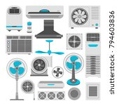 air conditioners and fans or... | Shutterstock .eps vector #794603836
