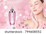 skincare cosmetic ads  sakura... | Shutterstock .eps vector #794608552