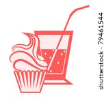 cake with a drink - stock vector