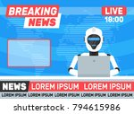 breaking news.robot android... | Shutterstock .eps vector #794615986