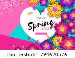 bright origami spring sale... | Shutterstock .eps vector #794620576