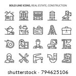 real estate  bold line icons.... | Shutterstock .eps vector #794625106