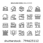 real estate  bold line icons.... | Shutterstock .eps vector #794625112