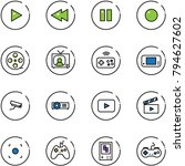 line vector icon set   play... | Shutterstock .eps vector #794627602