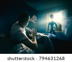 young man getting abducted by... | Shutterstock . vector #794631268