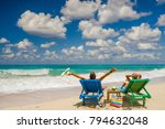 couple on the beach at tropical ... | Shutterstock . vector #794632048