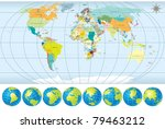 world map with all countries  ... | Shutterstock .eps vector #79463212
