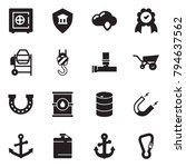 solid black vector icon set  ... | Shutterstock .eps vector #794637562