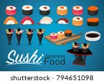 sushi rolls food japanese and... | Shutterstock .eps vector #794651098