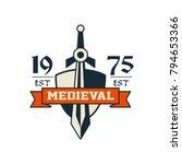 medieval logo  est 1975 ... | Shutterstock .eps vector #794653366