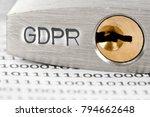 macro photo of padlock and data ... | Shutterstock . vector #794662648