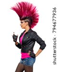 young punk girl isolated on... | Shutterstock . vector #794677936