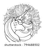 unicorn and flowers. magical... | Shutterstock .eps vector #794688502