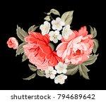 spring flowers botanical card... | Shutterstock .eps vector #794689642