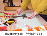 seamstress hands on the work... | Shutterstock . vector #794694385