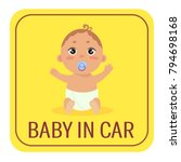 baby in car sign. babyboy with... | Shutterstock .eps vector #794698168