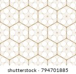 Stock vector gold japanese pattern vector geometric hexagon shape background 794701885