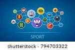 sport flat icon concept. vector ... | Shutterstock .eps vector #794703322