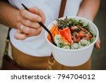 poke bowl   raw fish salad... | Shutterstock . vector #794704012
