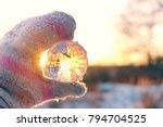 hand holding  transparent ball  ... | Shutterstock . vector #794704525