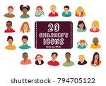 children icons group set. color ... | Shutterstock .eps vector #794705122