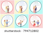 happy newlywed couples composed ... | Shutterstock .eps vector #794712802